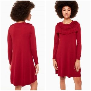 Kate Spade Fringe Sweater Dress Deep Russet Red XS